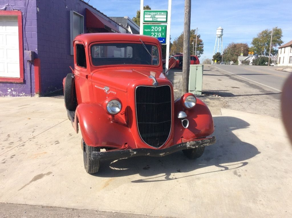 Vintage red 1935 Ford F-100 Pickup Truck