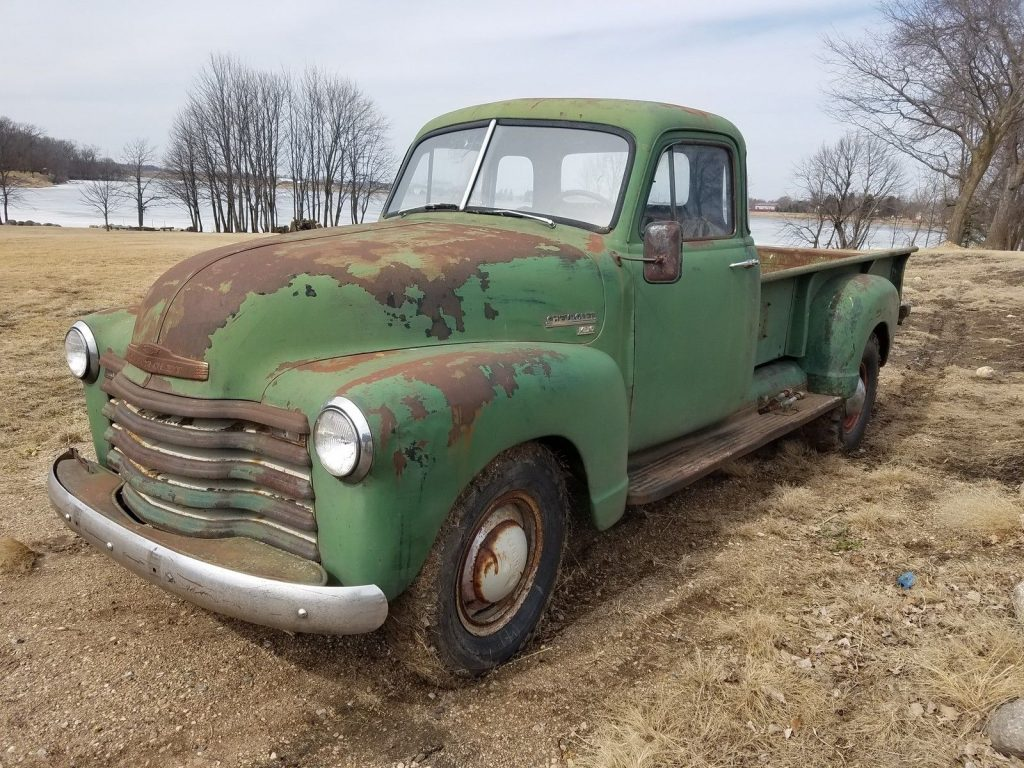 original 1953 chevrolet pickup farm truck with patina for sale. Black Bedroom Furniture Sets. Home Design Ideas
