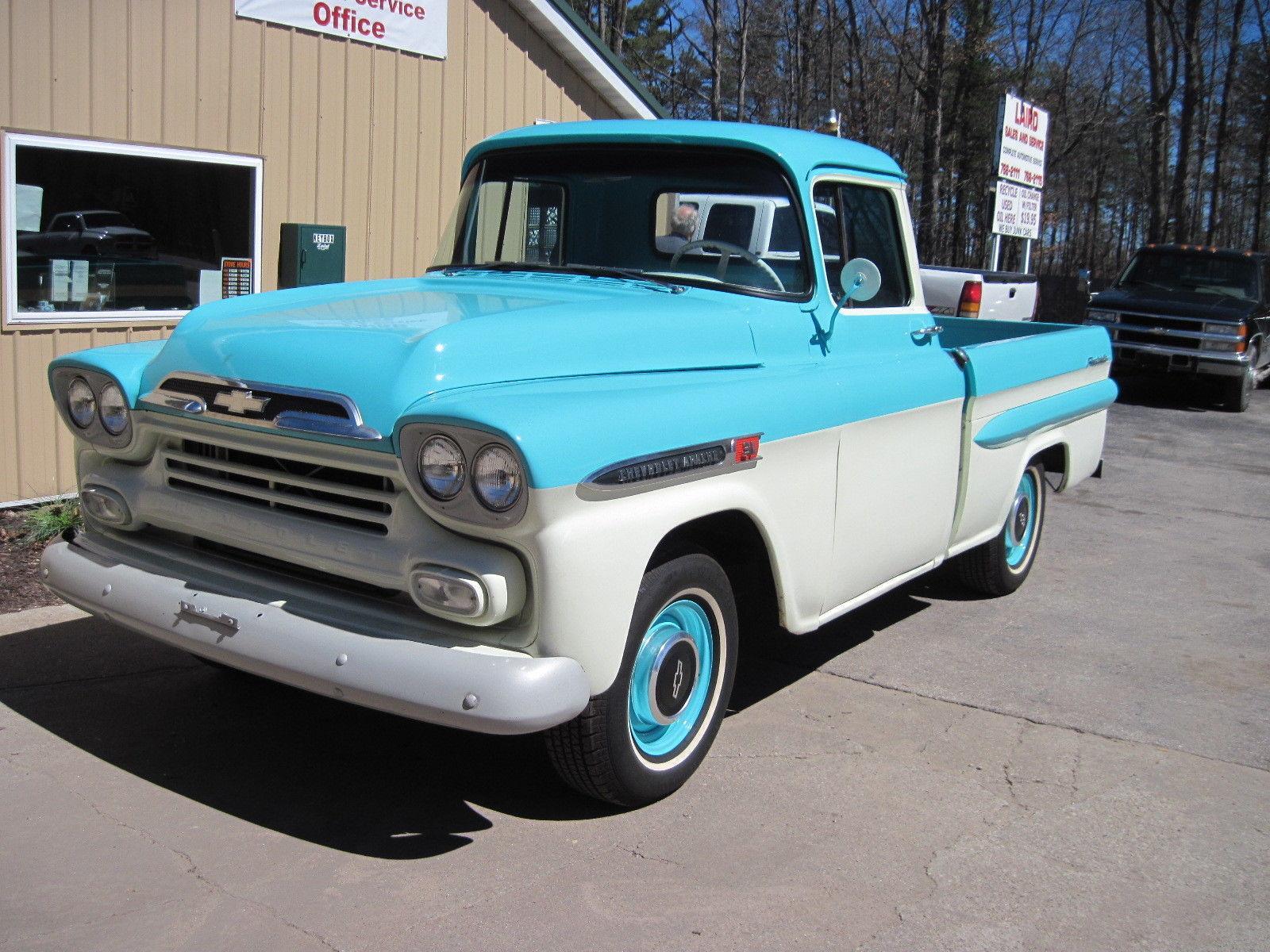 camper hauler 1959 chevrolet pickup apache vintage truck for sale. Black Bedroom Furniture Sets. Home Design Ideas