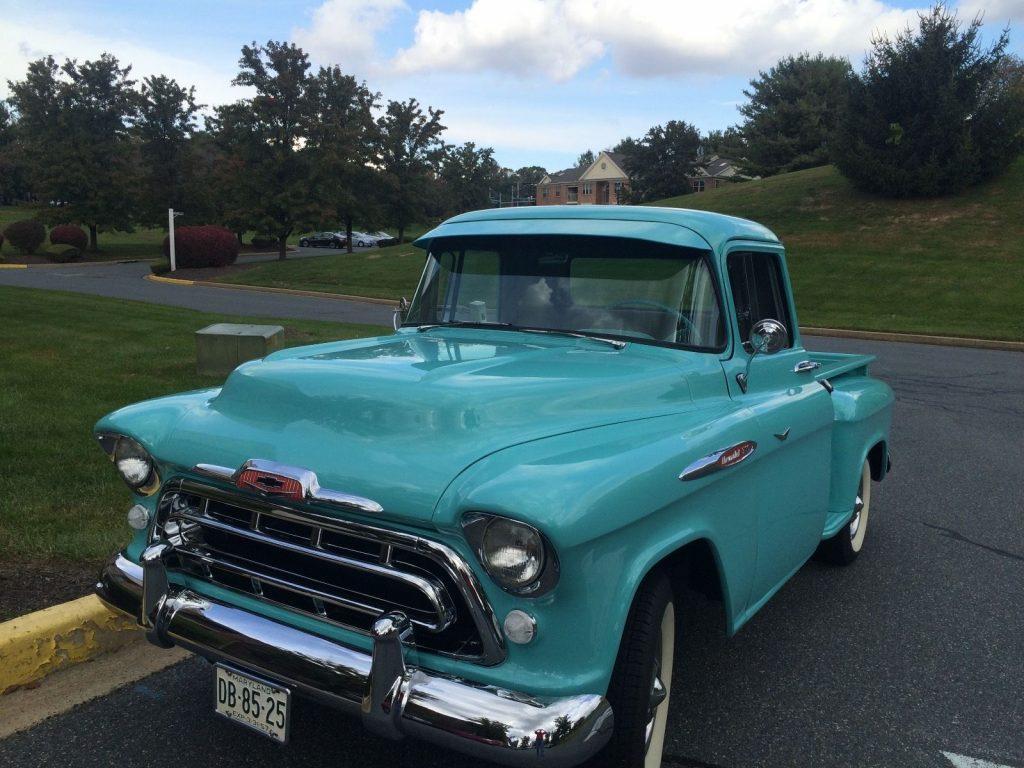 1957 chevrolet pickups 3100 short bed vintage truck for sale. Black Bedroom Furniture Sets. Home Design Ideas