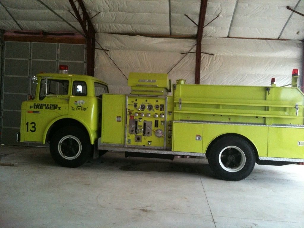 stored indoors 1976 Ford Fire truck vintage